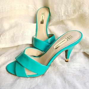 INC Bailey Heel Leopard/Teal - Pin Up Style - 7.5